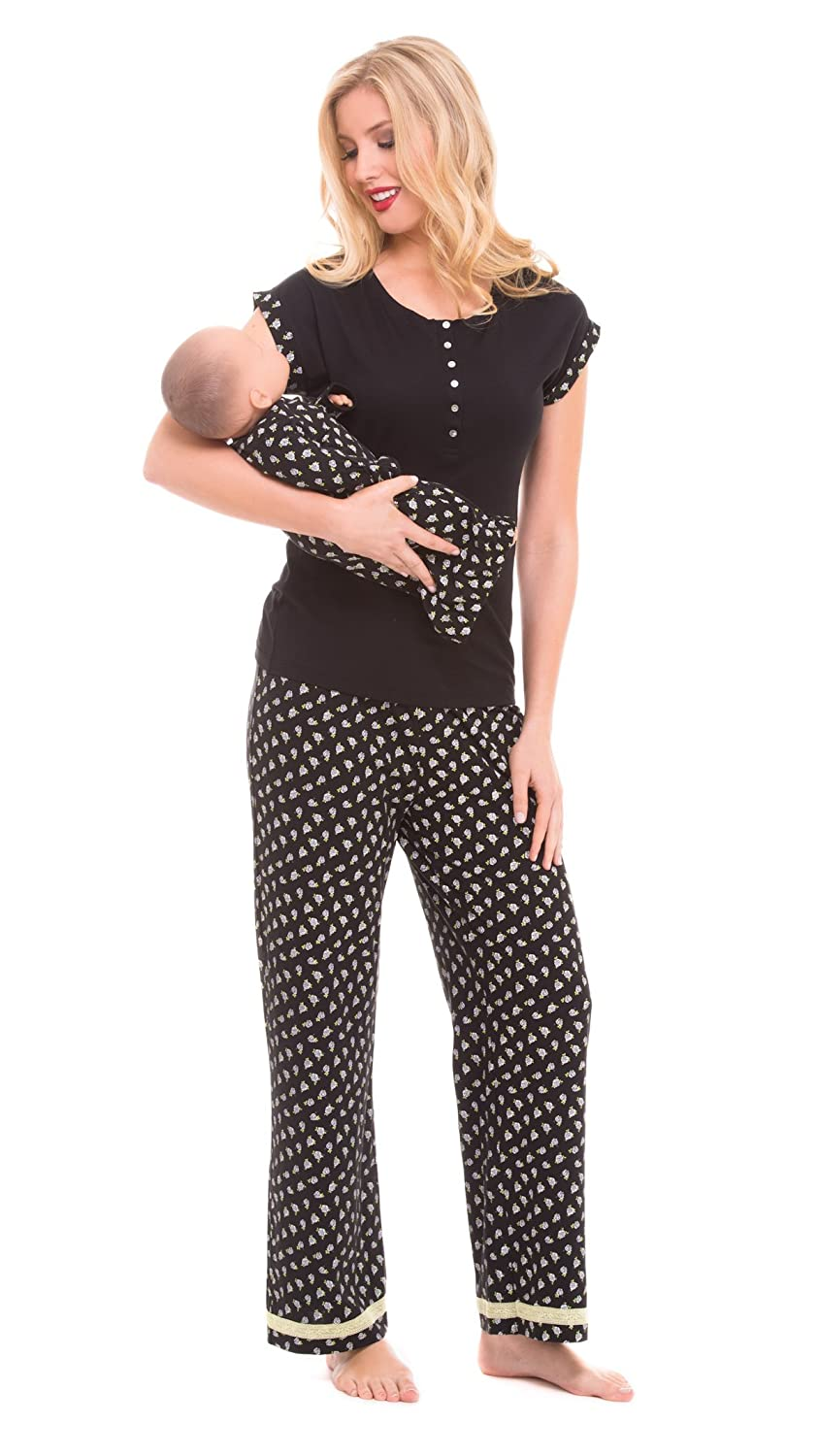 96612aac679a6 Olian Maternity Anne Black and White Floral Print Nursing Pajama Set at  Amazon Women s Clothing store