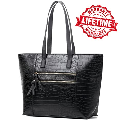 fd7be6705541 Leather Laptop Bag for Women Handbag Tote Purse for Work Office Travel