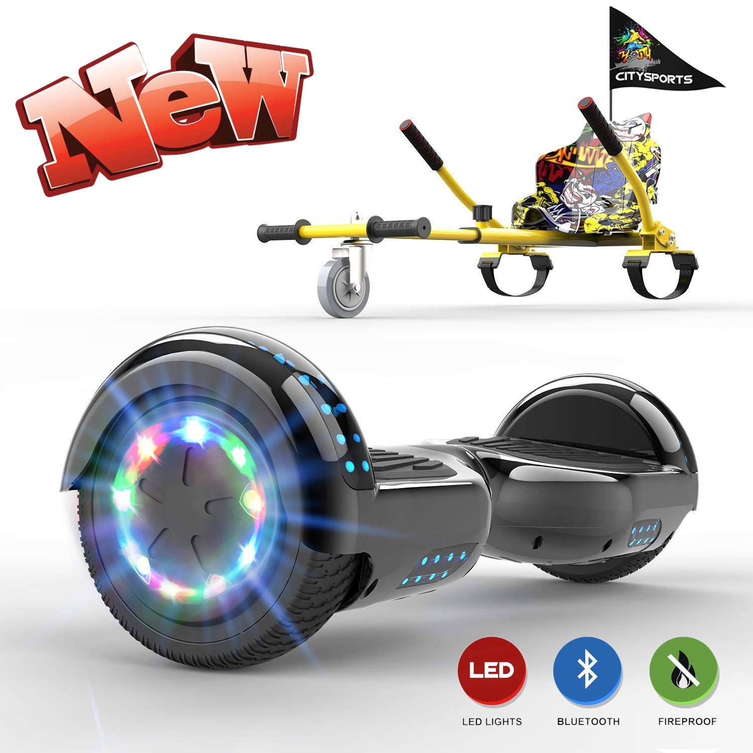 GeekMe Hoverboards with seat,Hoverboards with hoverkart,Hoverbaord seat go kart,Hoverboards LED Lights-Bluetooth Speaker-Flashing Wheels, Gift for Children
