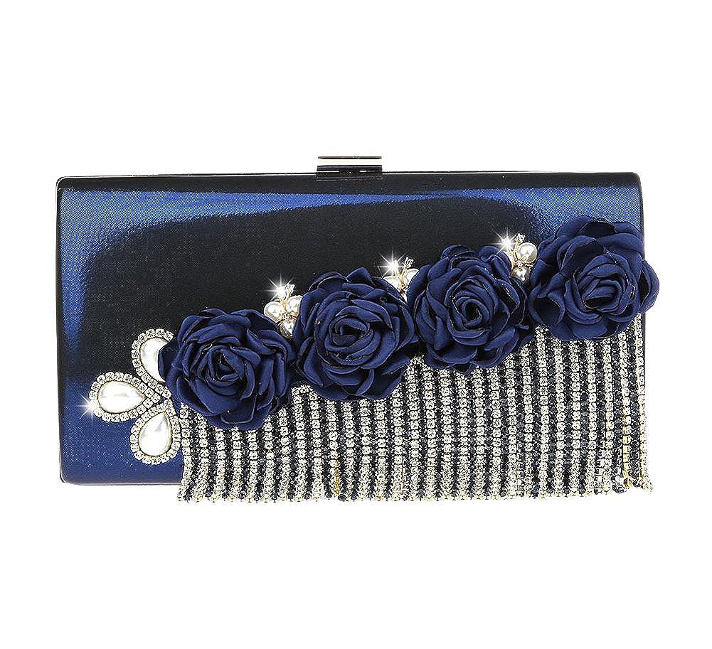 Genda 2Archer PU Leather Women Evening Clutch Bag Flowers Fashion Fringe Design
