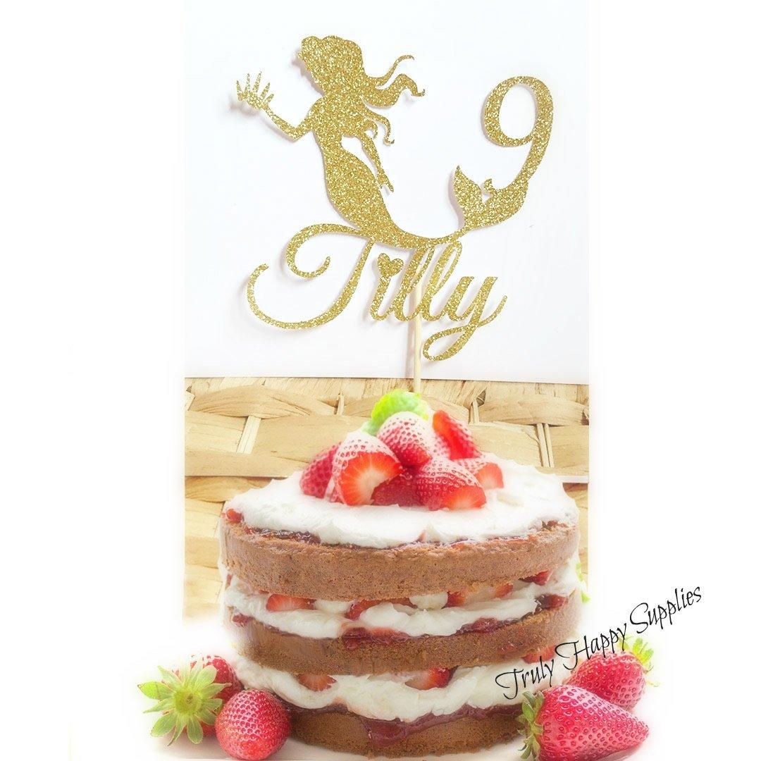 Mermaid Birthday cake topper Personalised Custom Name and age 1 18 21 30 - boy girl Decoration 29 Glitter cake options