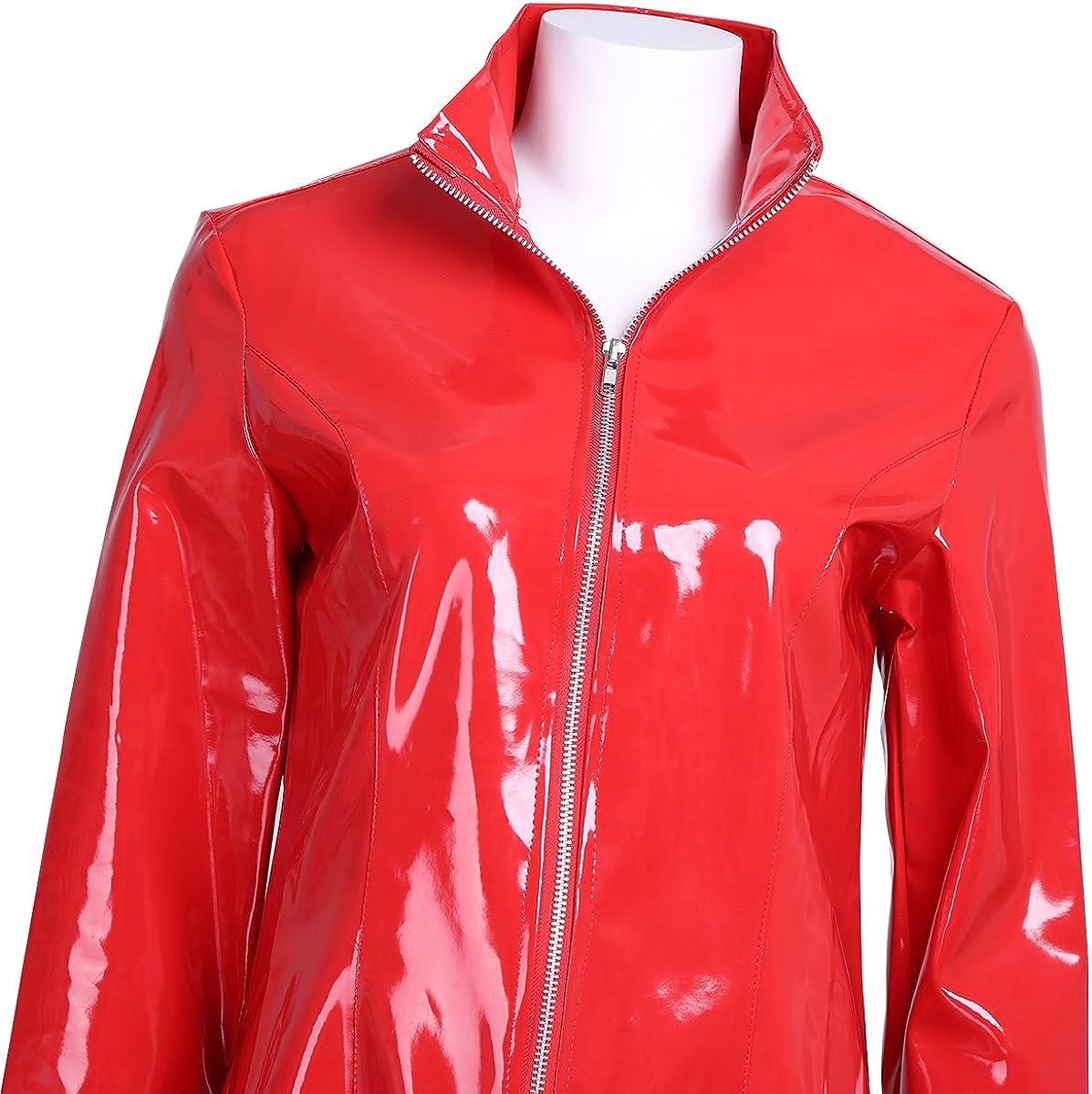 Agoky Ledermantel Jacke /Übergangsjacke Trenchcoat Stehkragen mit Reisverschluss Party Kost/üm Clubwear