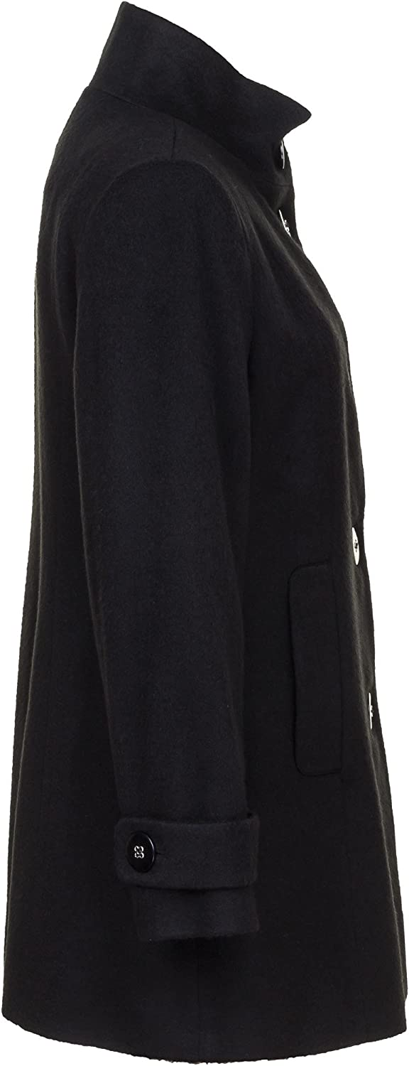 Busy Clothing Womens Black High Neck Wool Blend Coat