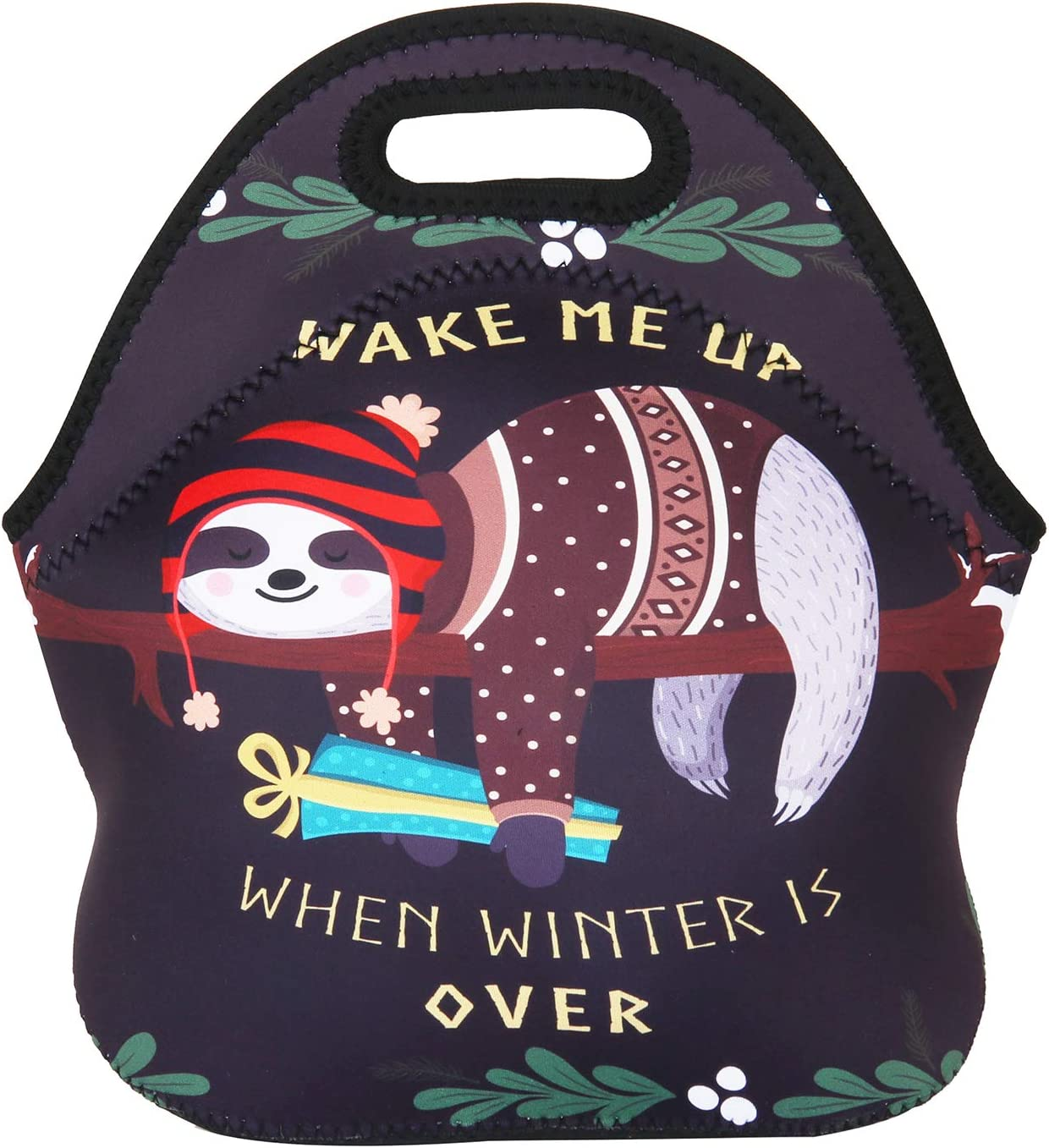 Violet Mist New Cartoon Insulated Neoprene Large Lunch Bag Tote Outdoor Picnic Handbag School Office Food Container for Women Men Kids Adults (Black Sloth)