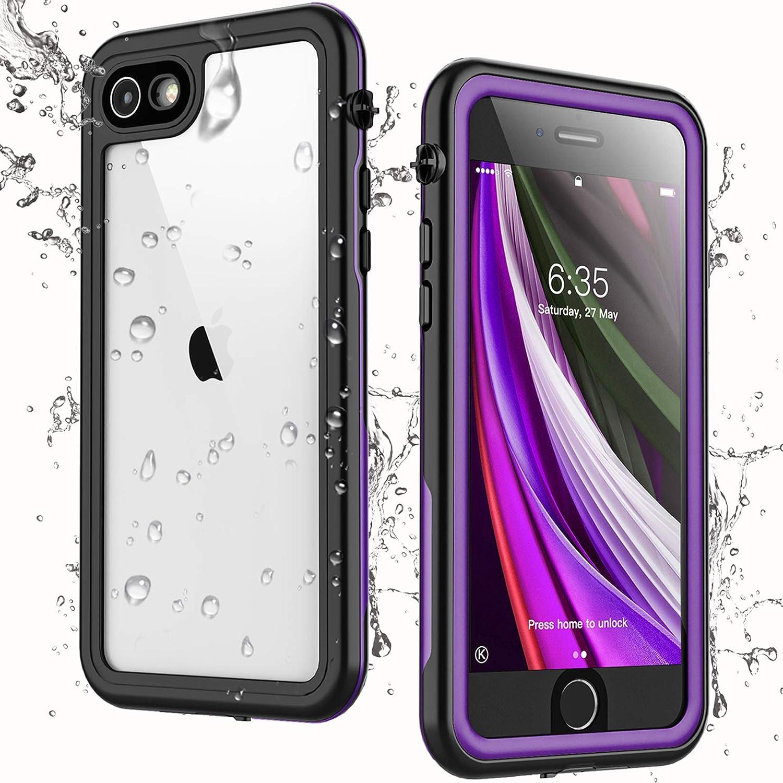 Singdo iPhone SE 2020 Waterproof Case,iPhone 7/8 Waterproof Case, Built-in Screen Protector Full Body Heavy Duty Shockproof IP68 Waterproof Case for iPhone SE 2020/7/8 4.7 inch (Purple)