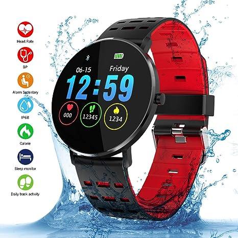 Smartwatch, Kivors IP68 Impermeable Reloj Inteligente Classic Ronda de Pantalla Táctil con Monitor Cardiaco,