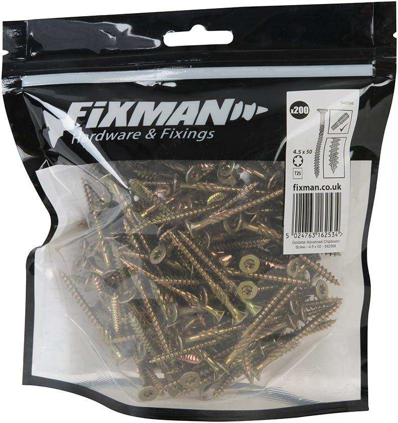 Fixman 572486 Tornillos para Madera Aglomerada Oro 6 x 100 mm