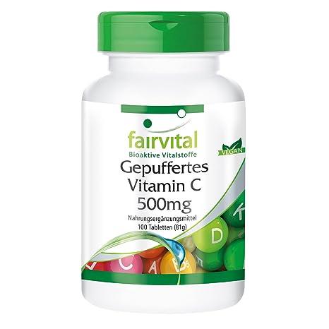 Buffered Vitamina C 500 mg - Bote para 100 días - VEGANO - Alta dosificación -