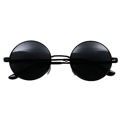 8b9464851b608 ShadyVEU - Retro Colorful Tint Lennon Style Round Groovy Hippie Wire  Sunglasses (Black Lens