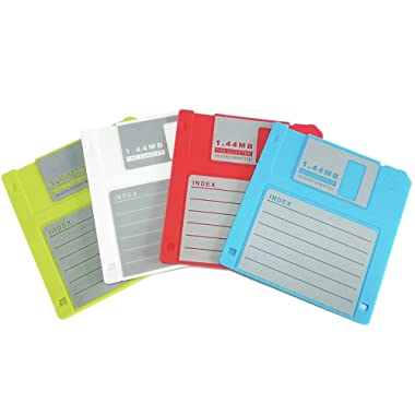 PHT Silicone Blanked Label Retro 3.5 Inches Floppy Disk All-weather Coasters , 4.7 X 3.6 , Set of 4