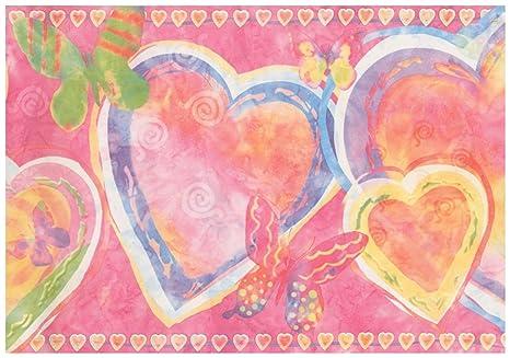 Blue Purple Yellow Heart Butterfly Abstract Hot Pink Wallpaper ...
