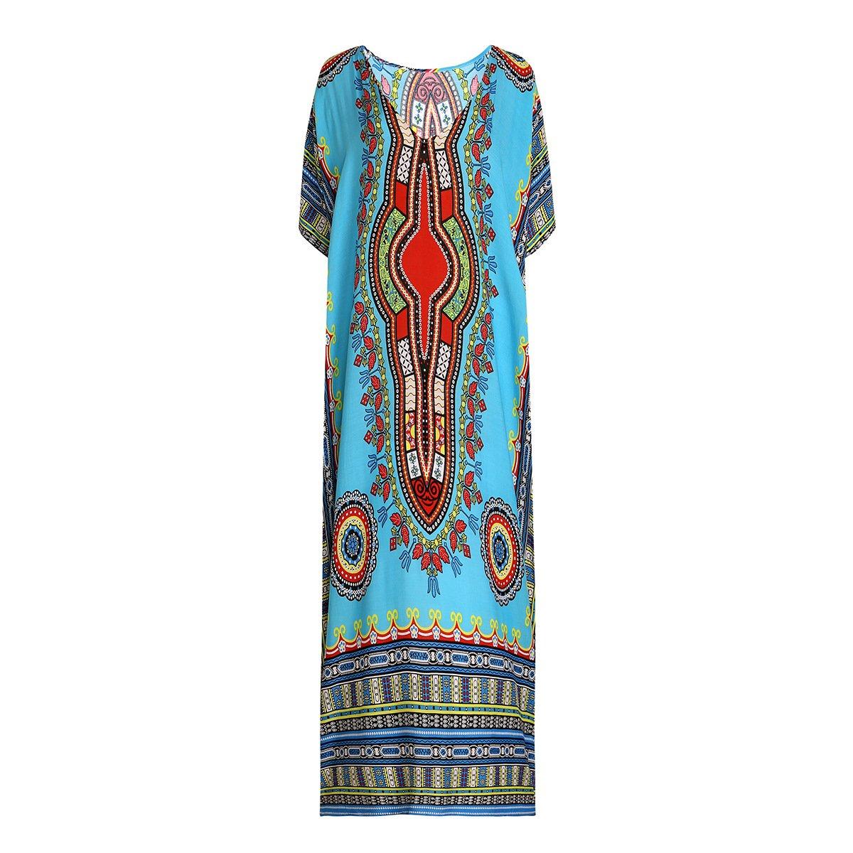 Women Long Oversized Kaftan Beachwear Maxi Dress Cover Up By Charming House (Green)