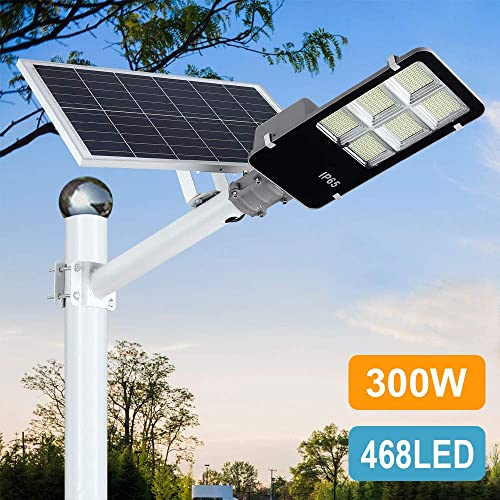 300W LED Solar Street Lights Outdoor, Dusk to Dawn Security Flood Light with Remote Control Pole, Wireless, Waterproof, Perfect for Yard, Parking lot, Street, Garden and Garage