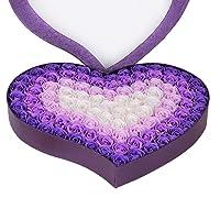HYSUNG 石鹸 花 バラとポプリ 100個セット ハート型 手作り 洗う 手 お風呂 香り キレイ フラワー ソープ ギフト 誕生日 結婚お祝い バレンタインデー ロマンチック 贈り物(紫)
