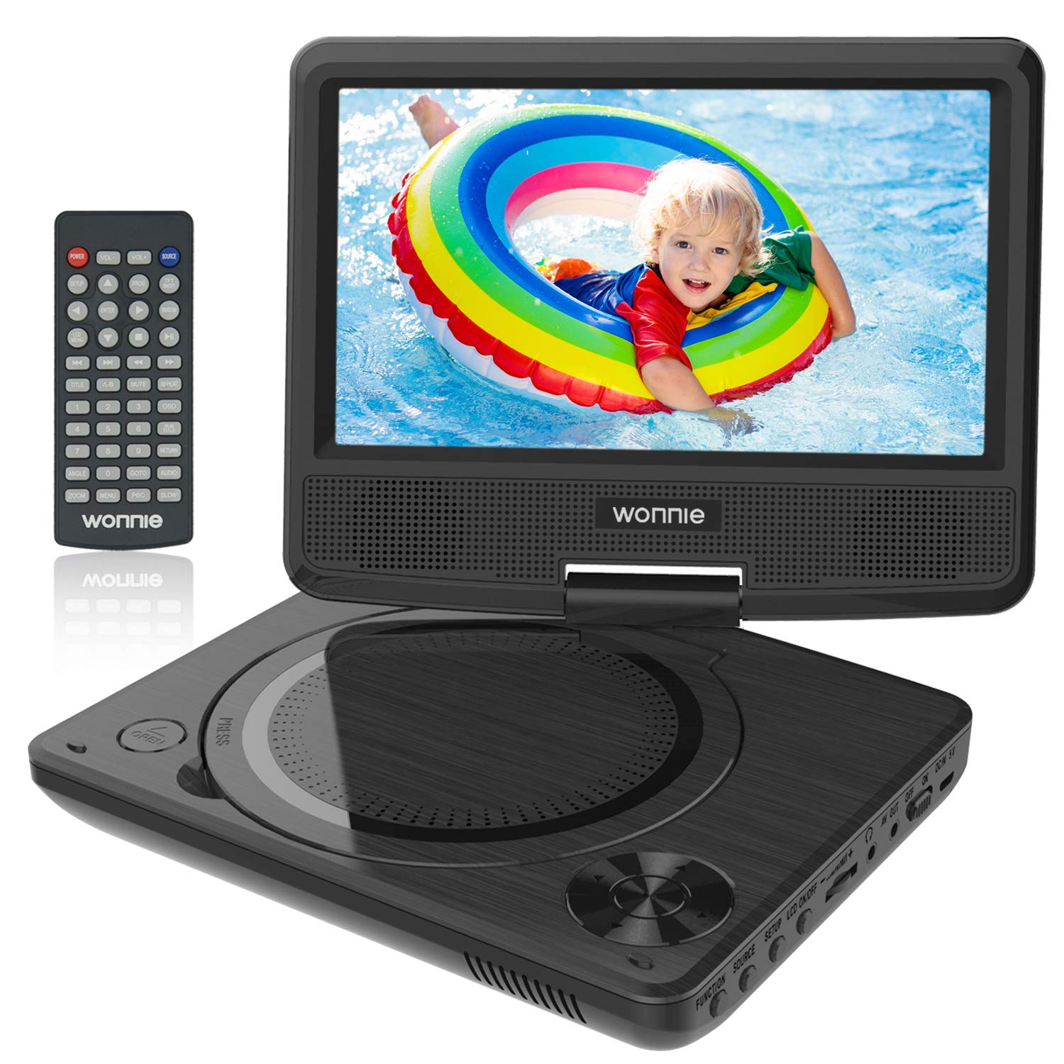 WONNIE 9.5'' Kids Portable DVD Player with 7.5 inch Swivel Screen, Rechargeable Battery, Remote Control, Personal DVD Player for Car, Support USB / SD Card Reader( Black)