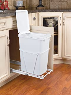 Lovely Rev A Shelf 35 QT Pullout Waste Container With Lid, White