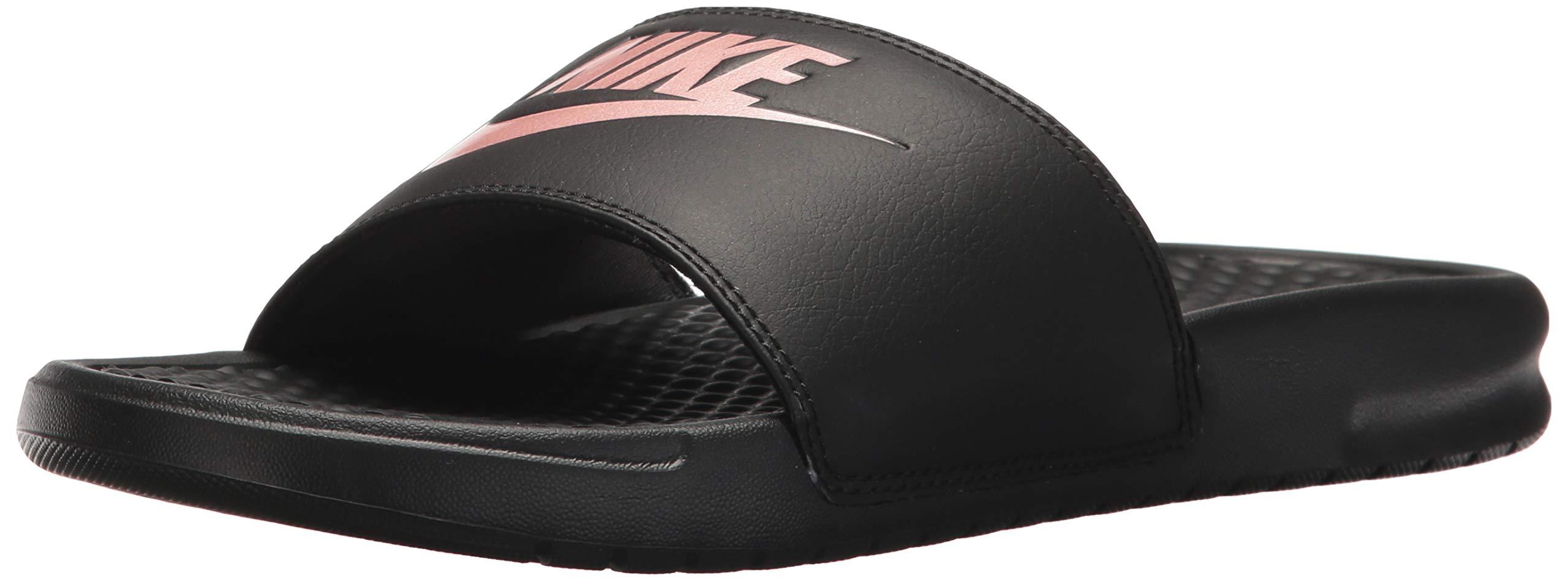 Nike Women's Benassi Just Do It Sandal, Black/Rose Gold, 8 Regular US by Nike