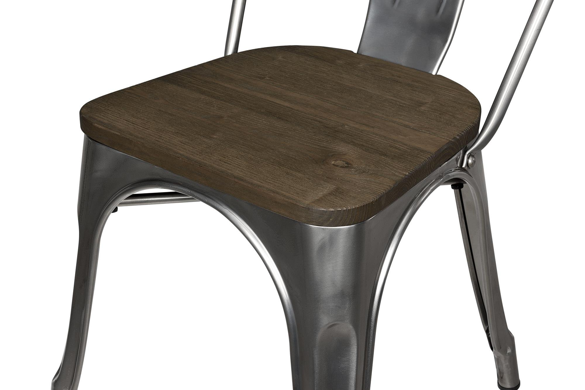DHP Fusion Metal Dining Chair with Wood Seat, Set of two, Antique Gunmetal by DHP (Image #3)