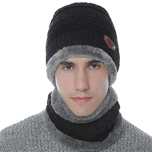 e25a893e7b707 Urban Virgin 2-Pieces Winter Beanie Hat Scarf Set Warm Knit Hat Thick Knit  Skull Cap For Men Women at Amazon Men s Clothing store