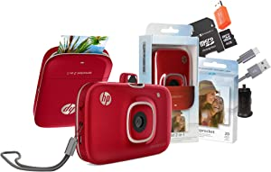 HP Sprocket 2-in-1 Portable Photo Printer & Instant Camera (Color Red) with 8GB MicroSD Card and Zink Photo Paper & SD USB with Car Adapter (Bundle)