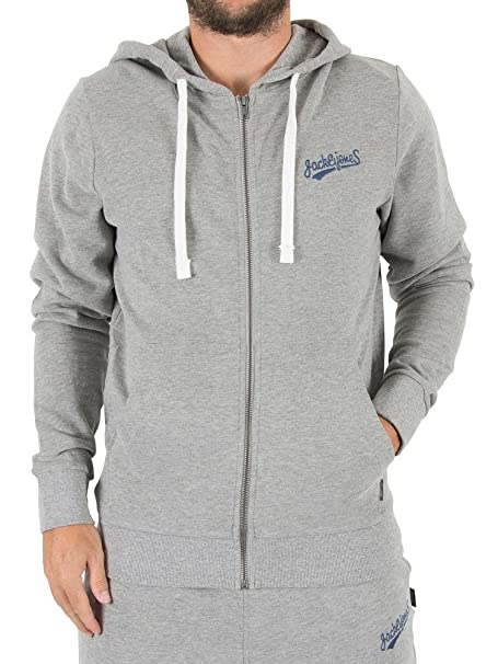Jack and Jones Mens Logo Full Zip Hoodie Hoody Hooded Top Long Sleeve Cotton