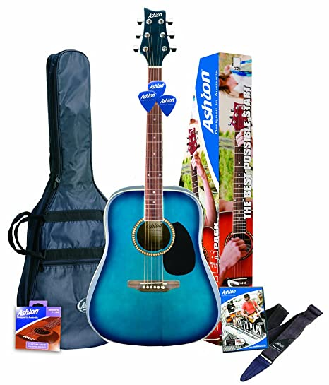 Ashton D25TBB Guitarra acústica, color Azul (Blue Finish)