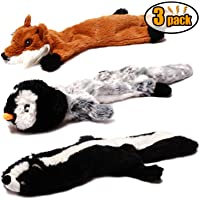 CNMGBB Crinkle Dog Toy No Stuffing, Durable Stuffingless Plush Squeaky Animal Dog Chew Toy Set with Fox Skunk and Penguin for Small Medium and Large Dogs Pets, 18inch,3 Pack