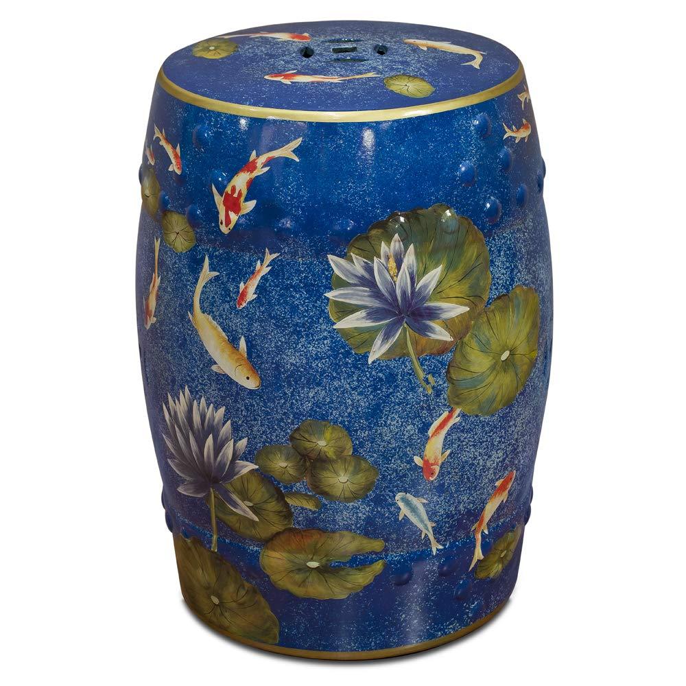 ChinaFurnitureOnline Porcelain Garden Stool, Hand Painted Koi Pond Design Crackle Blue Glaze