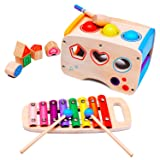 AMLINK Hammering Pounding Toys Wooden Educational Toy Xylophone Shape Sorter, Christmas Birthday Gift for 1 2 3+ Years Old Boy Girl Baby Toddler Learning Block Toy