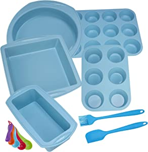 Silicone Nonstick Baking Pans Mold Tray Supplies Tools Bakeware Set, BPA Free Food Grade for Muffin Pizza Tiramisu Loaf Bread Cake Pan Cookie Sheets Cookware Set for Oven