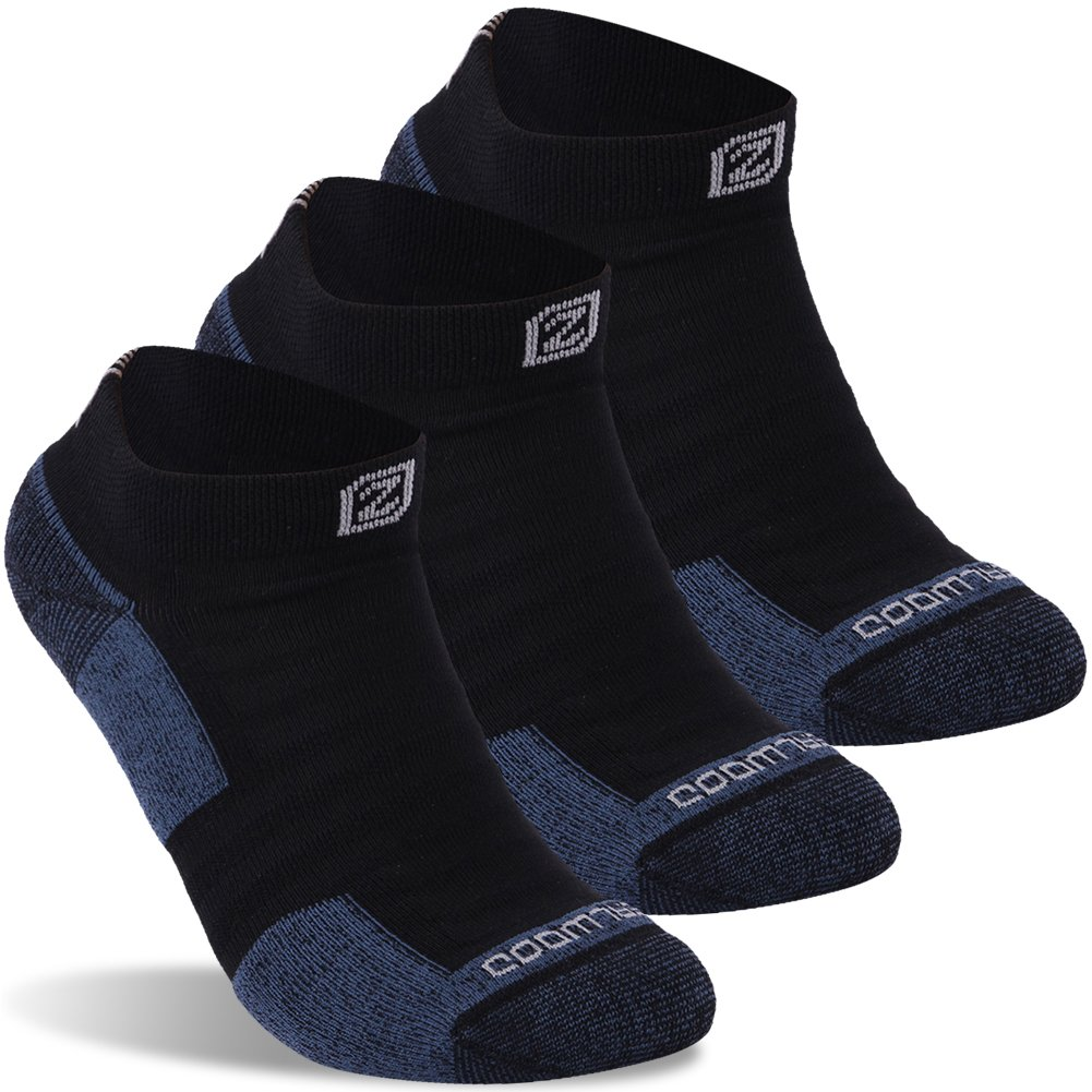 Golf Socks, ZEALWOOD Low Cut Athletic Socks, Hidden Comfort Antibacterial Athletic Summer No Show Running Socks for Men and Women, Ankle Trail Cyling Socks With Padding 3 Pairs-Black/Blue by ZEALWOOD