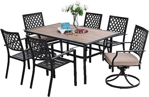 Sophia William Outdoor Patio Dining Set 7 Pieces Metal Furniture Set