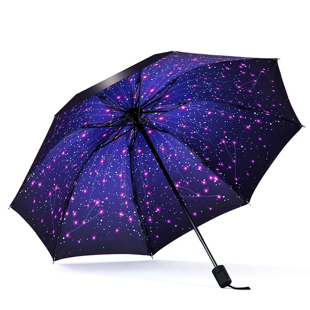 Guoke Umbrellas Sunscreen Uv Protection Umbrellas Vinyl Umbrella Fold Fine Rain With Two 2