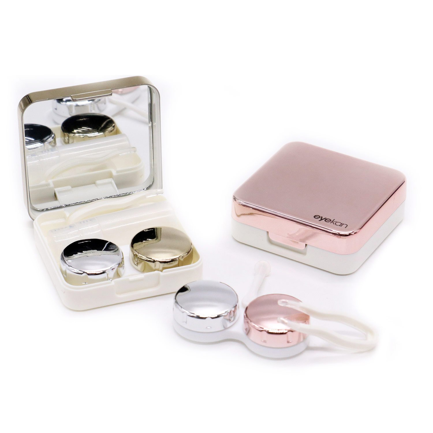 HUELE 2 PCS Contact Lens Travel Case Box Kit Set Holder With Mirror (Rose Gold & Gold) 4332660672