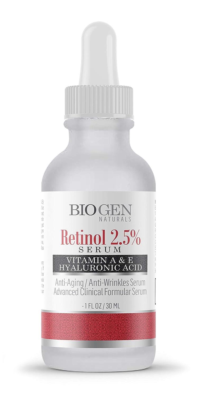 Anti-Wrinkle, Anti-Aging, Whitening Advanced Clinical Formula Retinol 2.5% Serum for Eye & Facial Moisturizer (1 oz/30 ml) - Vitamin A, E, Botanical Hyaluronic Acid/Improve Skin Tone, Fine Lines