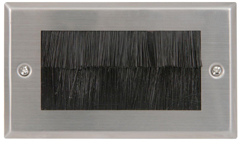 Stahl-Kabeleinfü hrung / -austritt, Frontplatte fü r Wandsteckdose, englisch, Stecker, mit Bü rste, Doppelverteiler. kenable double brushed steel
