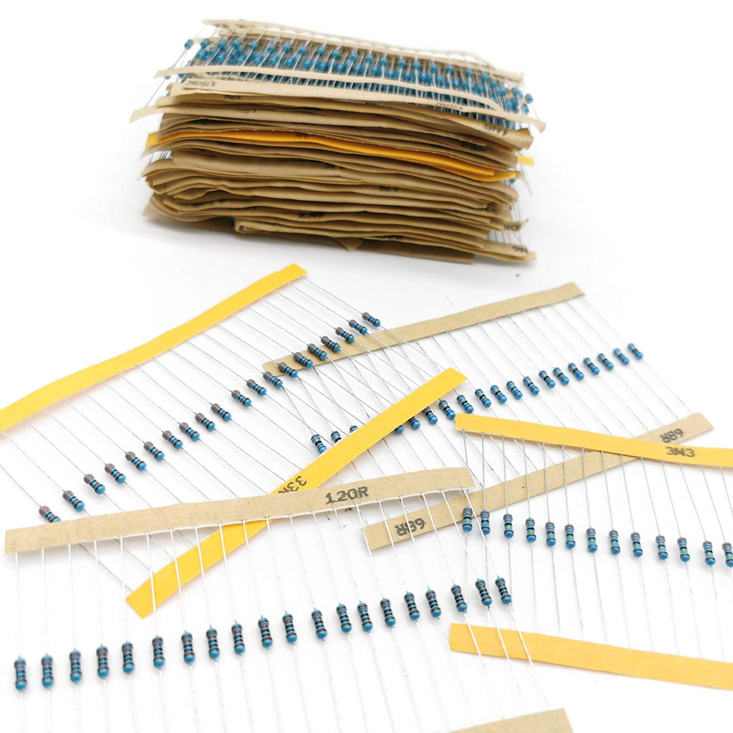 1/% Assorted Resistors 1 Ohm-10M Ohm 1//4W Metal Film Resistors Assortment with Pearl Plastic Bag for DIY Projects and Experiments 1280 Pieces 64 Values Resistor Kit