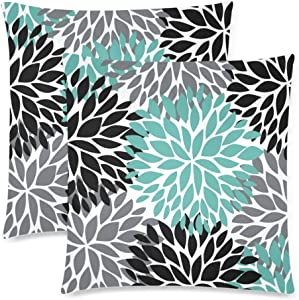 InterestPrint Dahlia Pinnata Flower Teal Black Gray Cushion Case Pillow Cover with Zipper 2 Pack 18x18 Inch, Zippered Throw Pillowcase for Bedroom Sofa