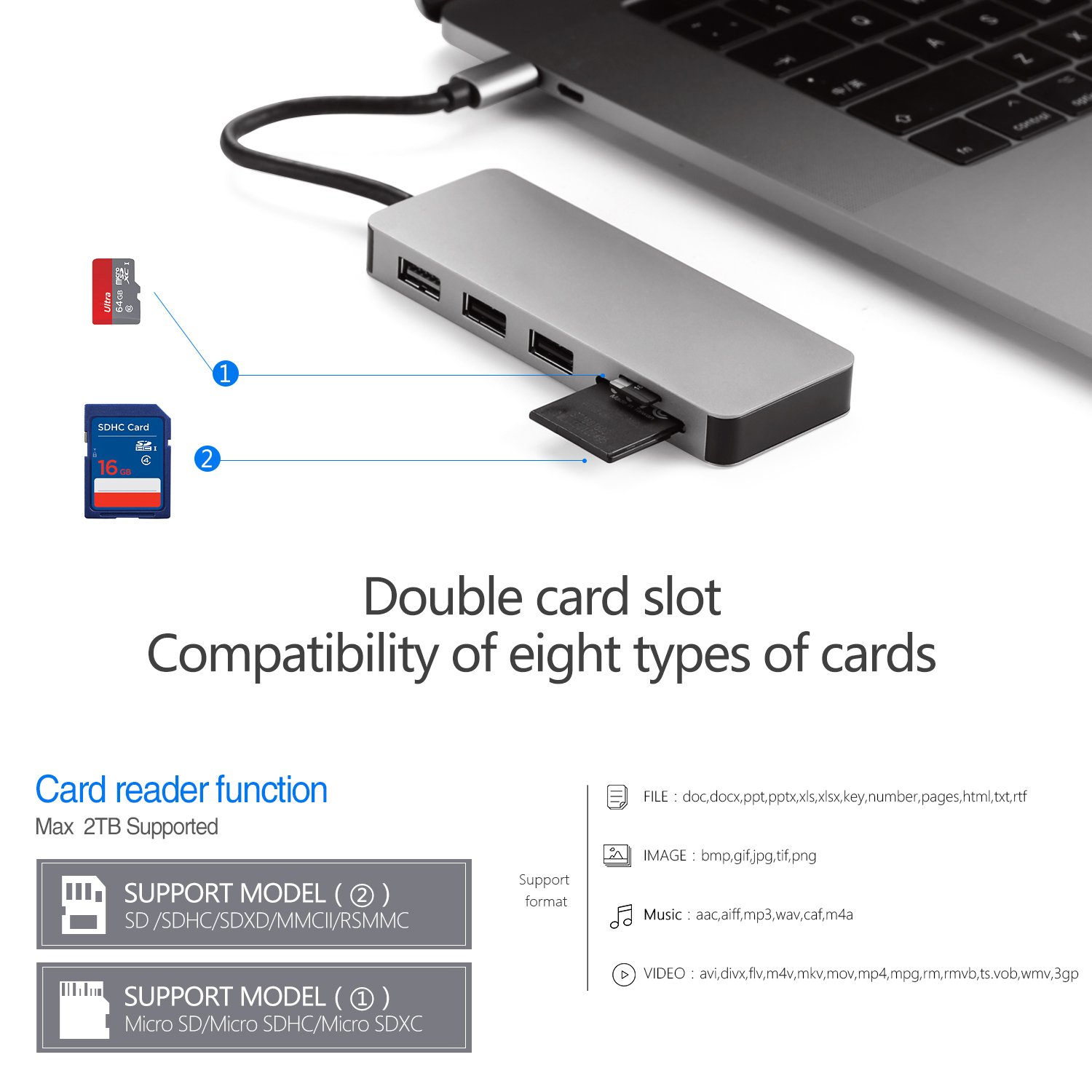 USB C Hub, 7 in 1 Type C Dock with HDMI Output, PD Charge, USB 3 0  Port,SDHC/Micro SD Card Reader for new MacBook / MacBook Pro, other USB C  Port