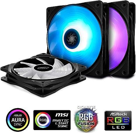 3 Fan model Triple Pack DEEPCOOL RF120 RGB AURA SYNC PWM 120MM -Freeship/&Track