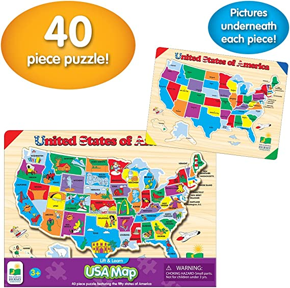 The Learning Journey Lift & Learn Puzzle – USA Map – Preschool Toys & Gifts  for Boys & Girls Ages 3 and Up