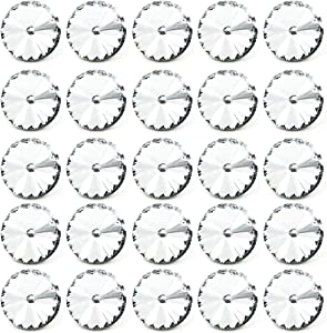 Wholesale 25 PCS 1 inch Large Crystal Upholstery Buttons Clear Glass Rhinestone Metal Shank Buttons Bulk Craft Embellishments for Tufting Sofa Headboard