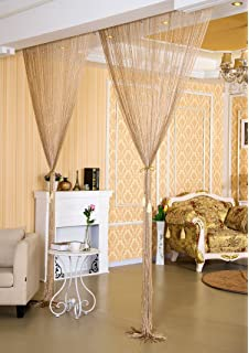 Liqy 90cm X 200cm Retro Tassel String Curtains Panel Door Divider Window  Door Fly Screen (