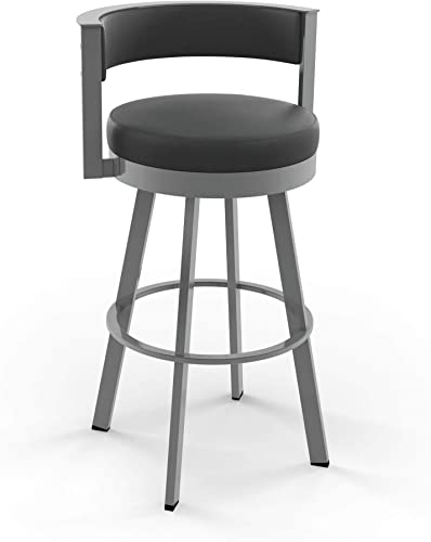 Amisco Browser Swivel Stool Glossy Grey Metal and Charcoal Black, Counter Height