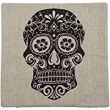 "Yamimi SKULL Linen Cloth Pillow Cover Cushion Case 18"",Black"