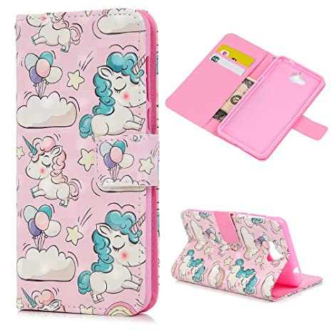 KASOS Huawei Y5 Y6 Cases Covers, 3D Unicorn PU Leather Wallet Stand Folio  Flip Cover with Card Holders and Money Clip Magnetic Clasp Anti Slip