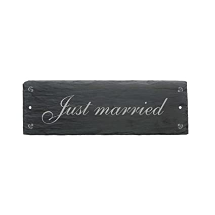 Cartel « Just Married » de pizarra - Aprox. 22 x 8 cm ...