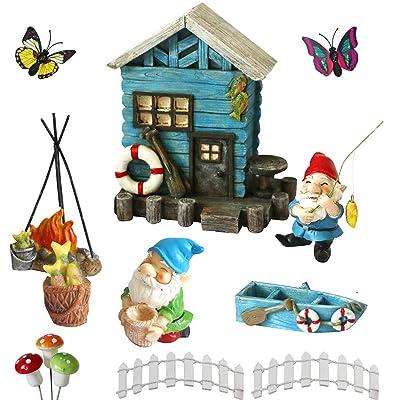 BangBangDa Miniature Fairy Garden Gnomes – Small Gnome Figurines & Accessories – Gnome House for Outdoor or Indoor Garden Decor(Set of 13): Garden & Outdoor