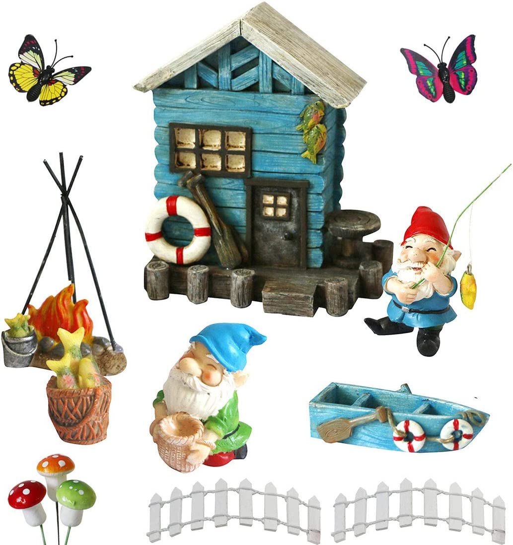 BangBangDa Miniature Fairy Garden Gnomes Decoration Small Figurines Statue Accessories Gnome House for Outdoor Indoor Home Yard Patio Decor Ornaments Kit Fence Mushroom