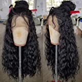 QD-Tizer Loose Curly Hair Wigs Synthetic Lace Front Wigs for Black Women Balck Long Curly Lace Front Wigs with Baby Hair…